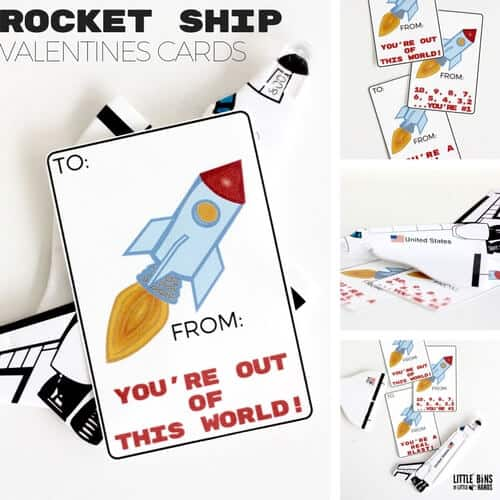 Printable Rocket Ship Valentine Card for Kids Science Valentines Ideas