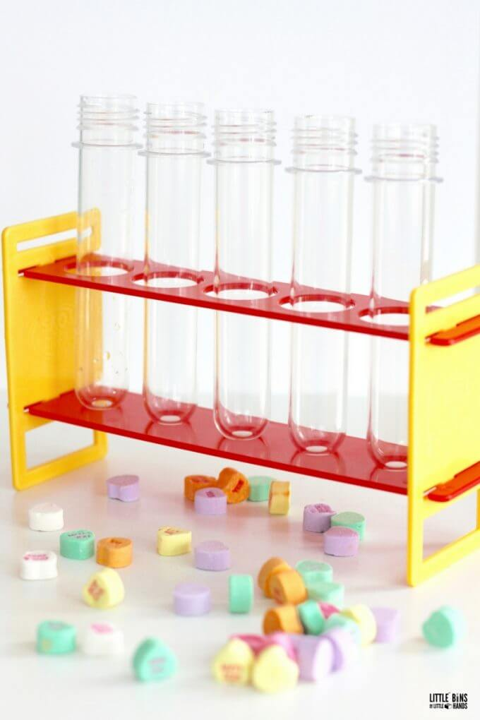 Test tube science activity with candy hearts for Valentines Day science