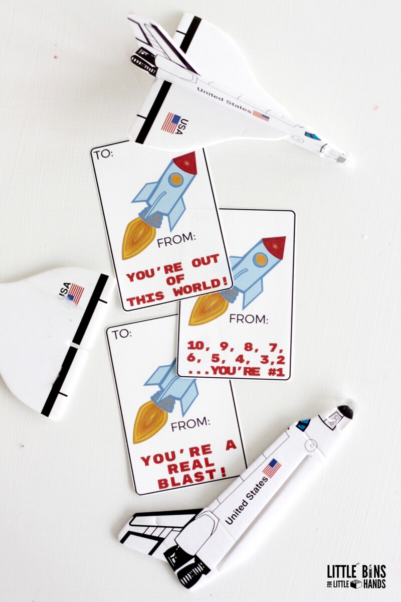 Printable Rocket Ship Valentines Cards Science Theme For Kids