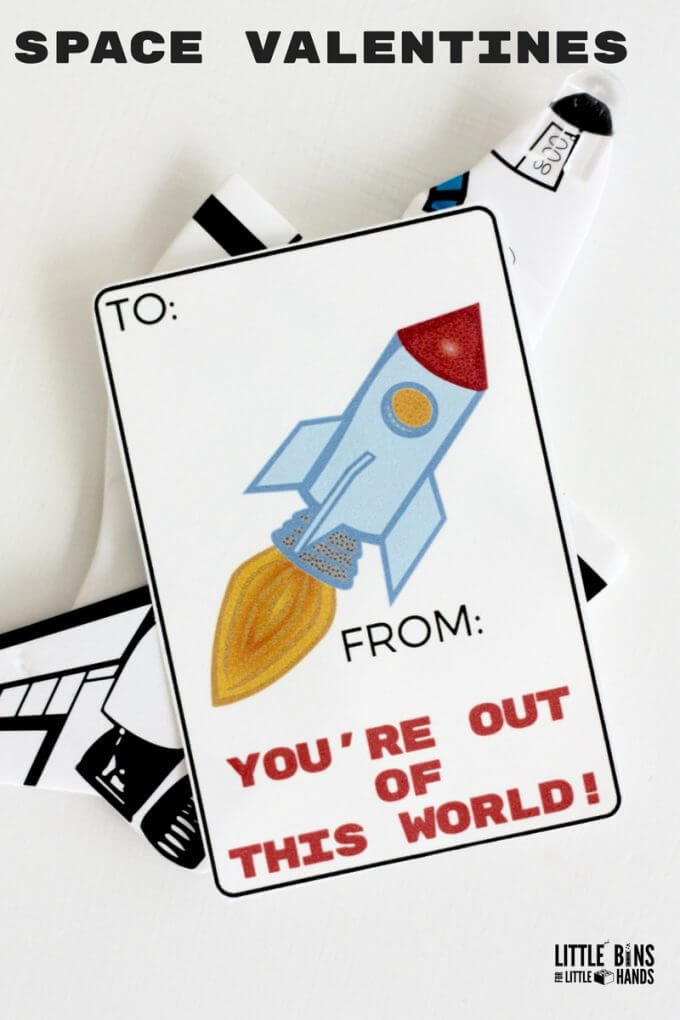 Printable Space Shuttle or Rocket Ship Cards for Science Valentines Cards