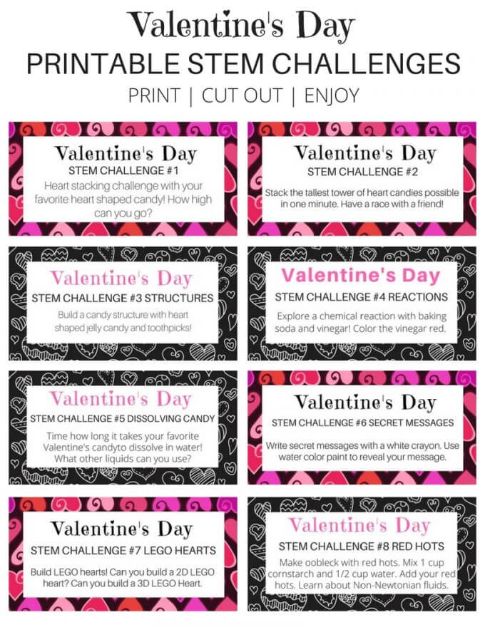 Valentines Day Challenge Cards Page 1