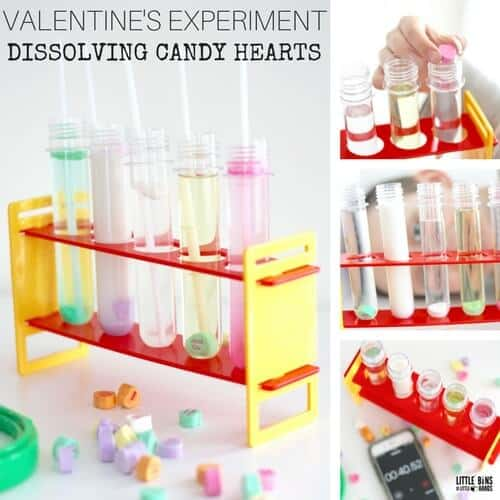 Dissolving Candy Hearts Science Experiment for Valentine's Day Science