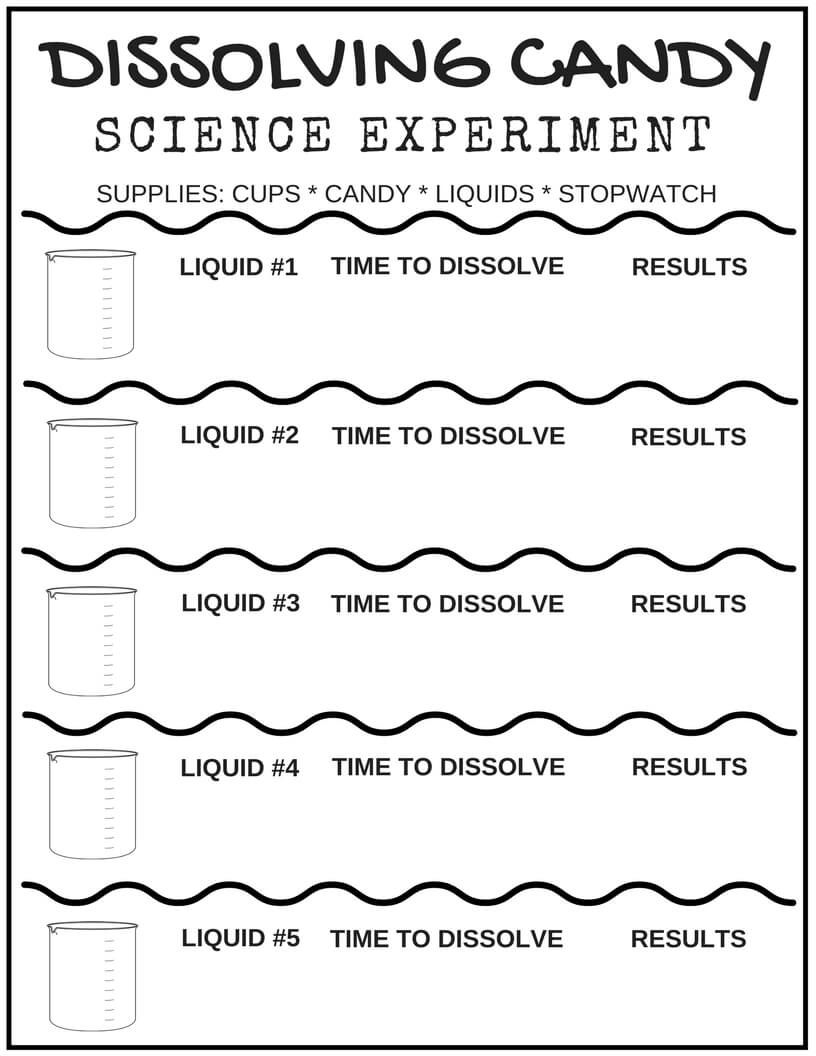 worksheet Science Experiment Worksheet free science worksheets and printable journal pages dissolving candy worksheet