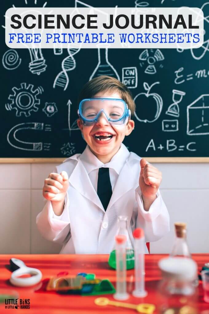 Free science worksheets for the best science experiments. Also free printable science journal pages for kids. Extend your science experiments with printable scientific method sheets, design process sheet, STEM challenge worksheet, science journal pages, backyard jungle project and more!