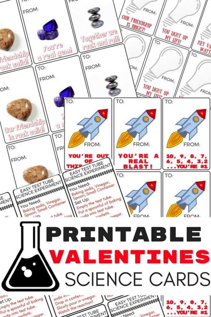 Printable Science Valentines Cards for Kids