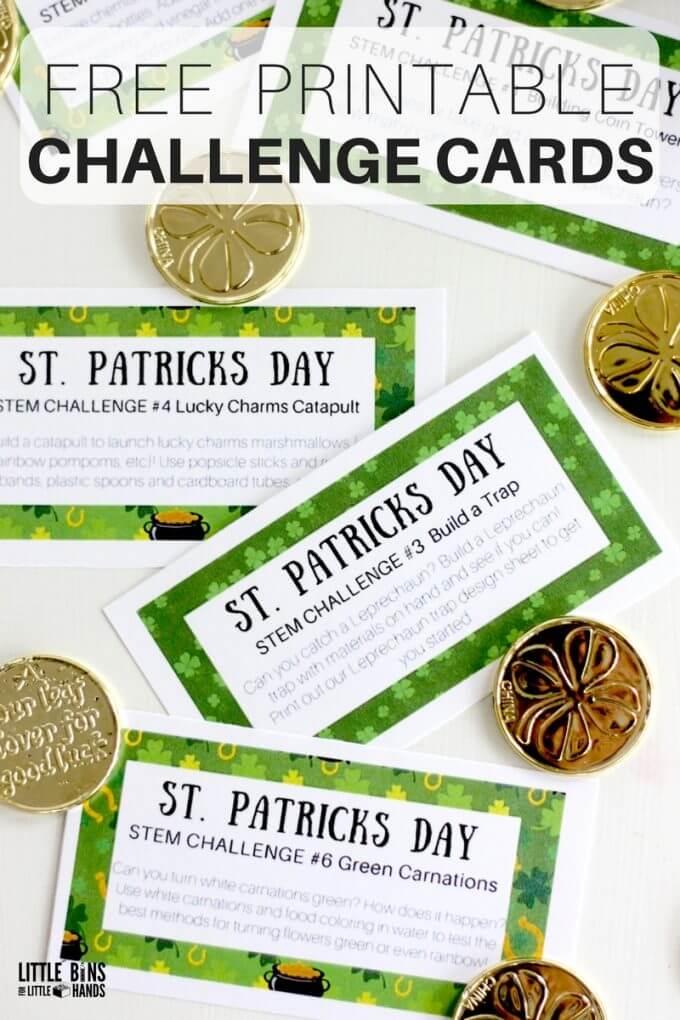 St Patricks Day STEM Challenge Cards free printable for kids