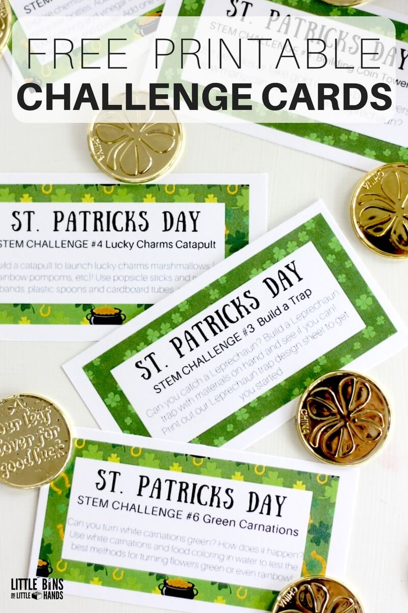 st patricks day challenge cards for science and stem activities