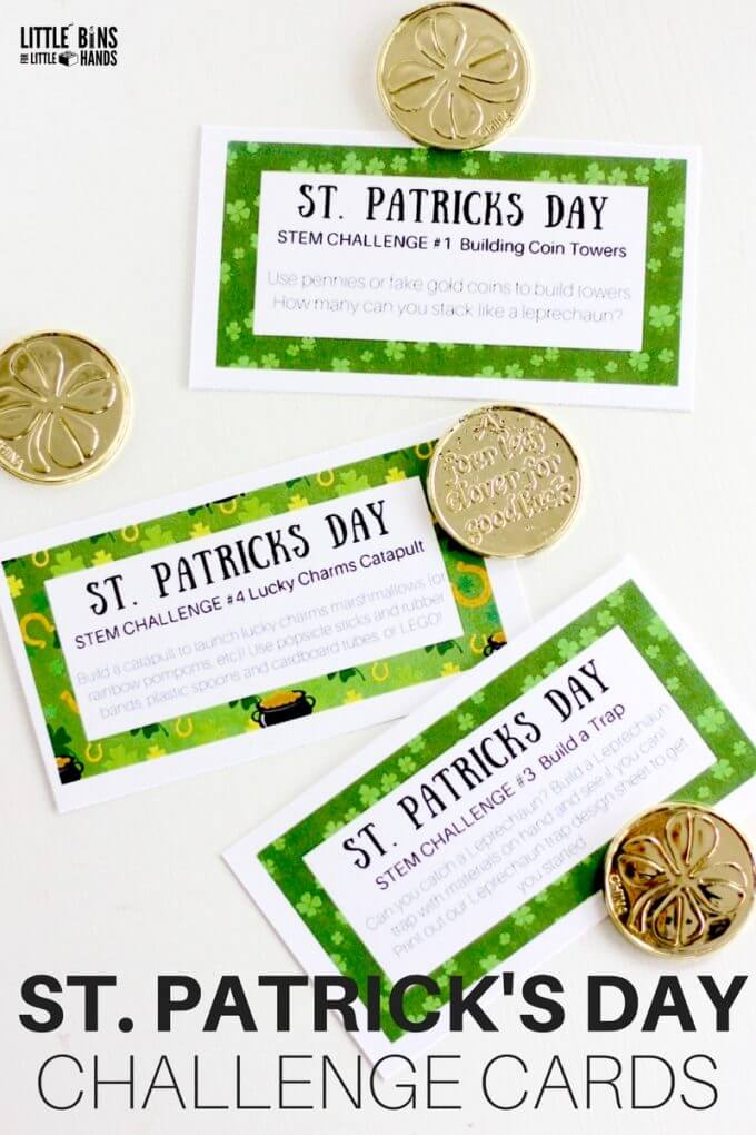 St Patricks Day Challenge Cards for Science and STEM. Free printable St Patricks Day STEM challenges.