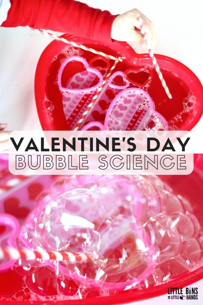 Valentines bubble science activity for Valentine's Day Science for Kids