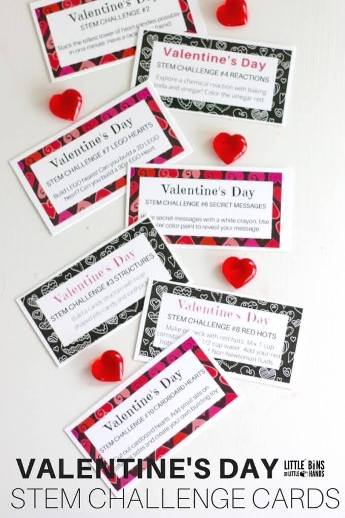 Valentines Day Challenge Cards for STEM and Science