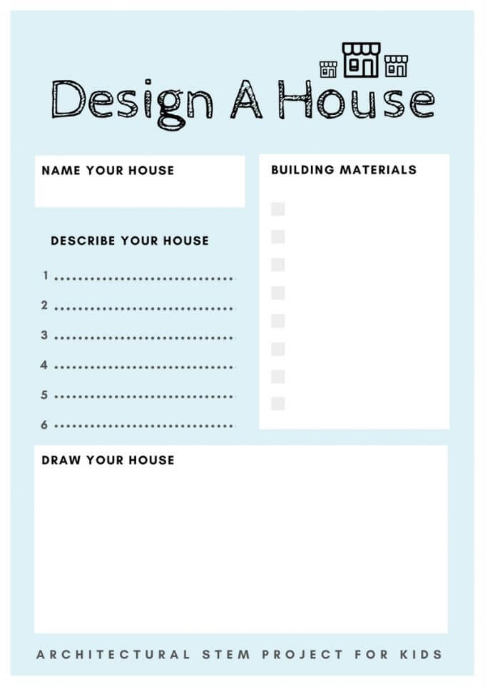 Design A House Printable for Architectural STEM Project for Kids