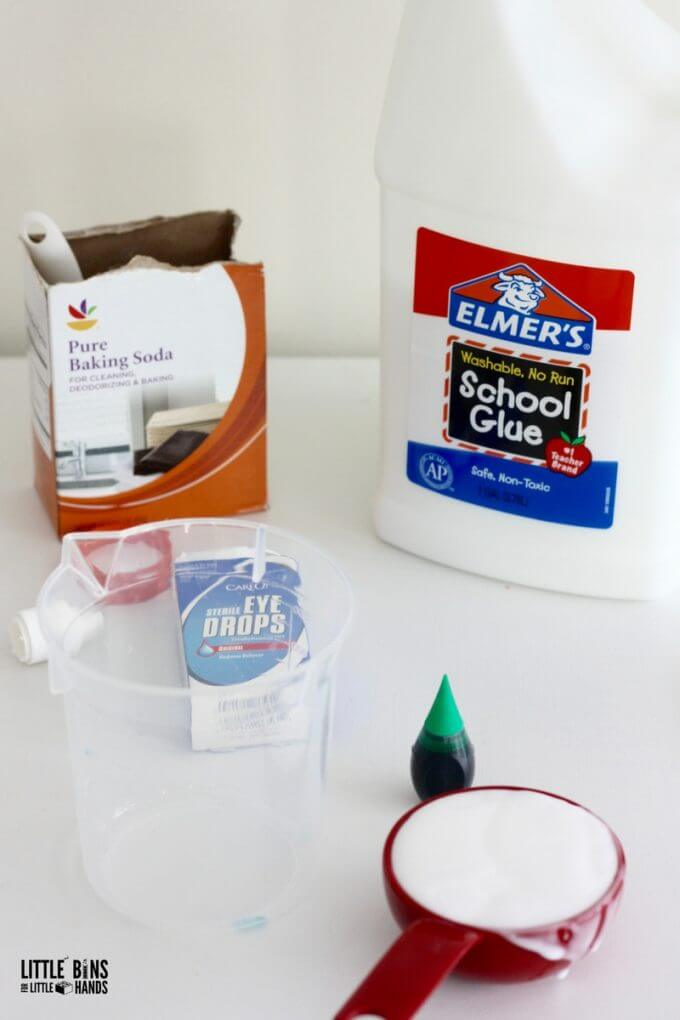 Supplies for making slime include eye drops, baking soda, and glue