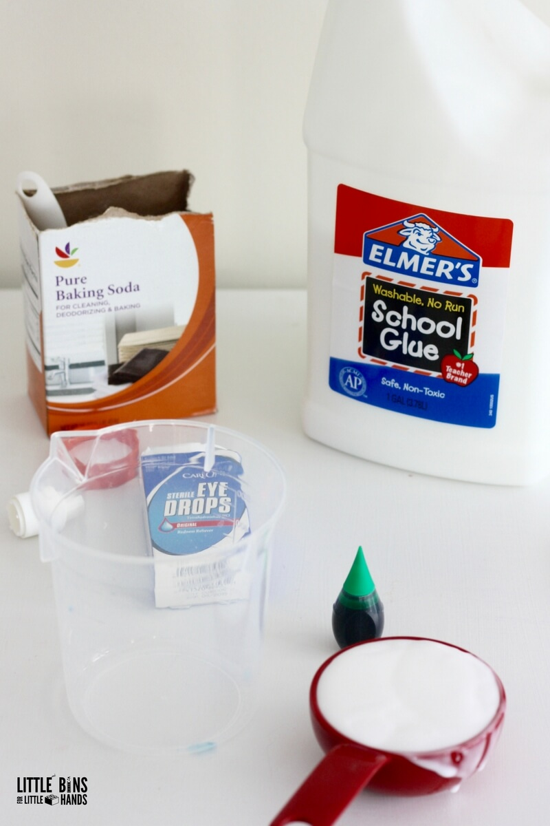 Make stretchy slime for kids with no borax powder or liquid starch supplies for making slime include eye drops baking soda and glue ccuart Choice Image