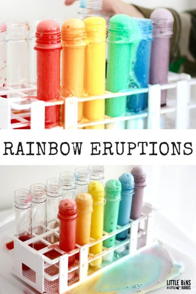 Erupting Rainbows and Fizzing Rainbow Eruptions for Kids Science