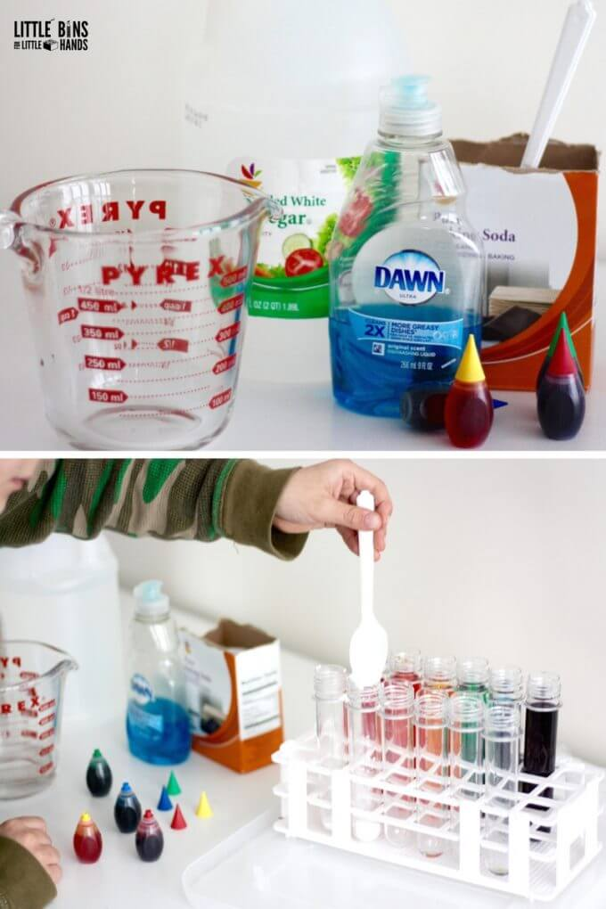 Erupting Rainbow Science Experiment Set Up and Supplies