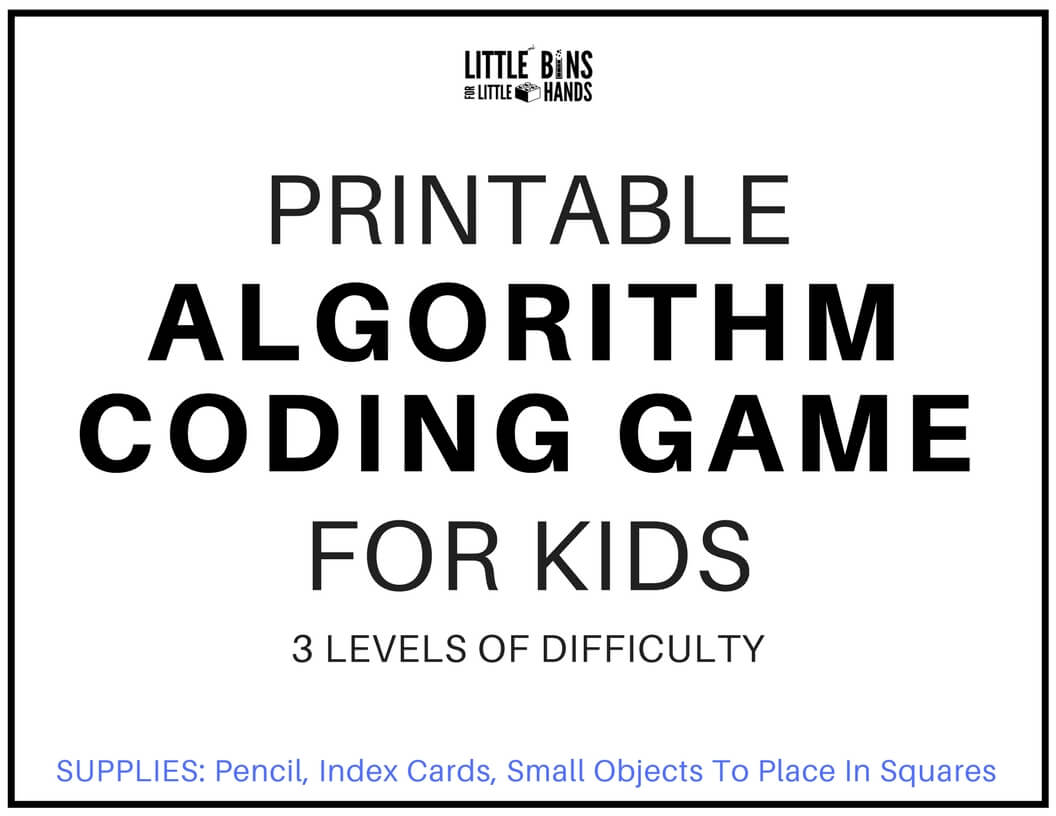 Algorithm Coding Game And Computer Coding For Kids Free Printable