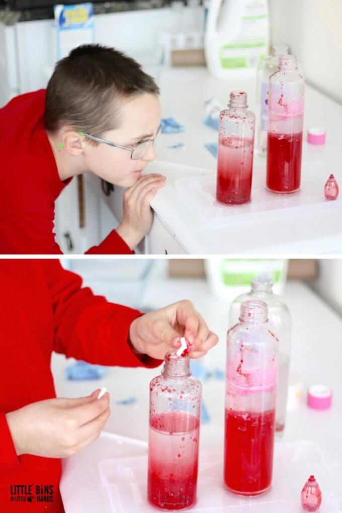 Examining chemical reaction for Valentines Day science experiment