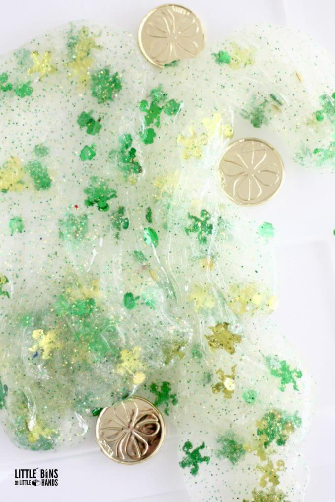 St Patricks Day Clear Glue Slime with Confetti Activity