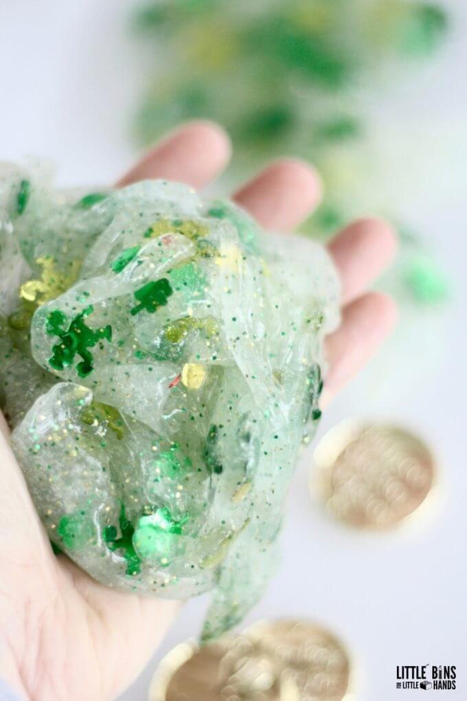 St Patricks Day Activity with Making Leprechaun Slime