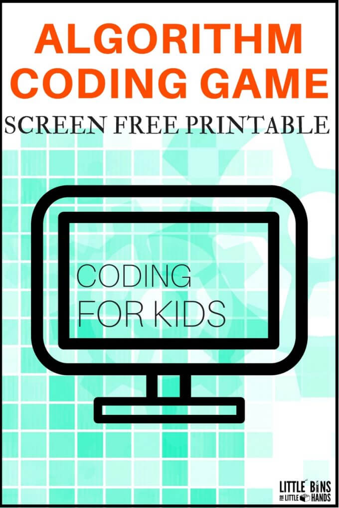 Printable algorithm coding game for kids. Screen free computer coding game teaches basics of sequence of actions. Build a base for computer science with a DIY coding game you can change around over and over again.