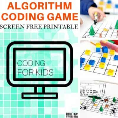 Algorithm coding game for kids screen-free computer coding activities. Free printable computer coding game for kids without a computer!