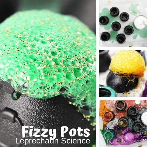 fizzy pots for St patricks Day science and STEM