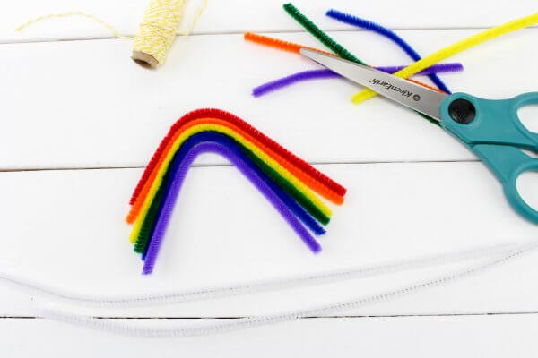 Build a rainbow out of pipe cleaners to grow crystals