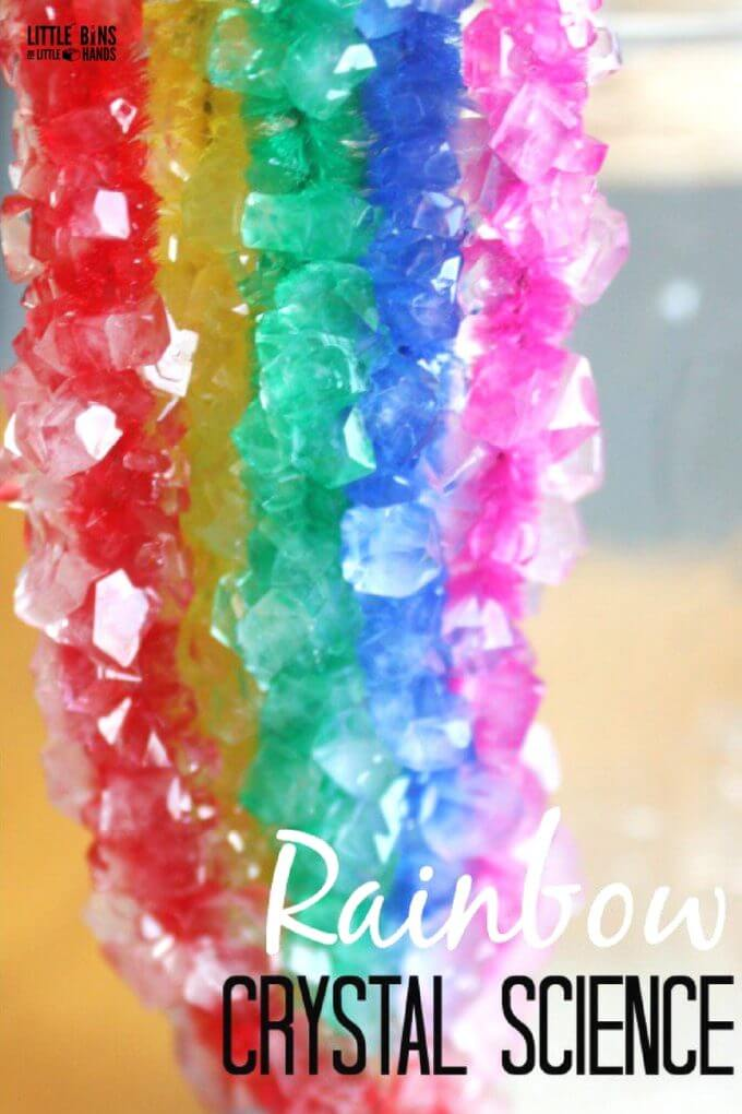 Rainbow Crystal Science Experiment for kids growing crystals with borax and pipe cleaners