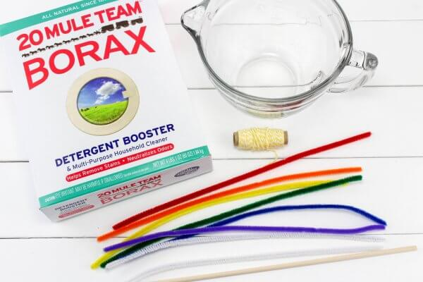 Rainbow Crystal Supplies with Borax and Pipe Cleaners