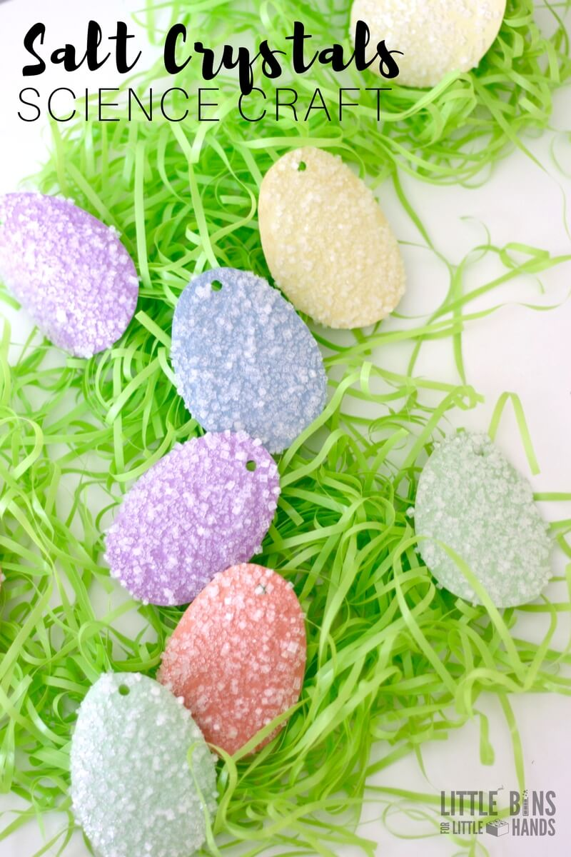 How to grow salt crystals Easter science activity for kids and easy chemistry experiment.