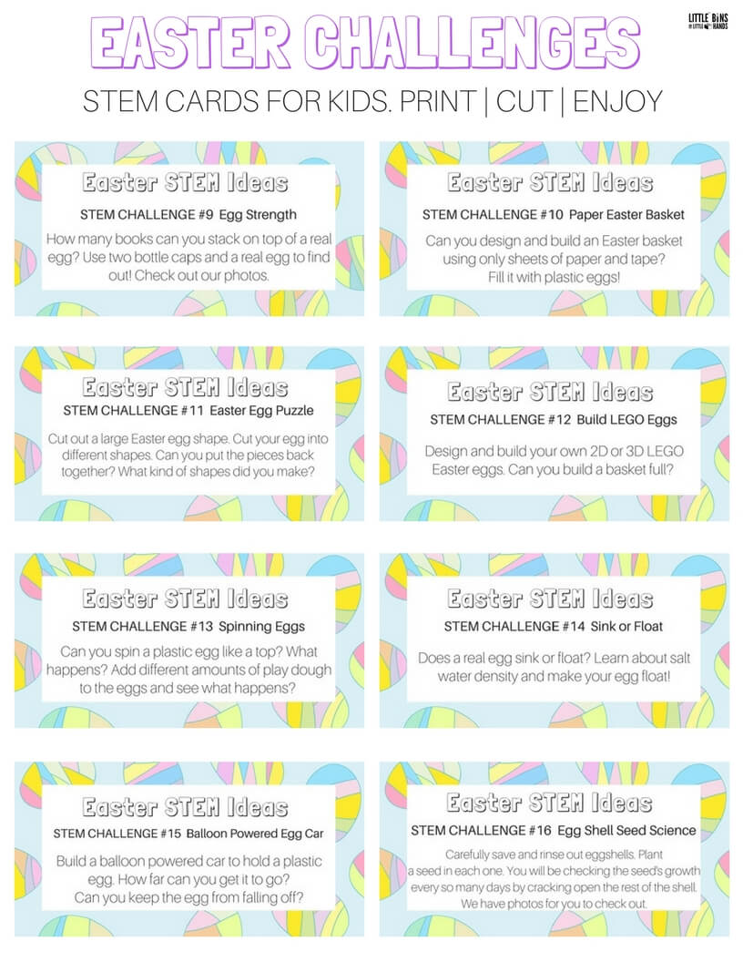 easter stem challenge cards and science ideas free printable