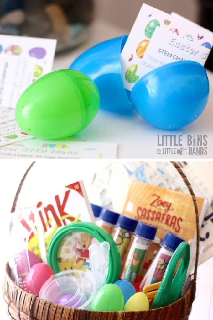 STEM themed Easter Basket Fillers and Ideas for kids Easter science