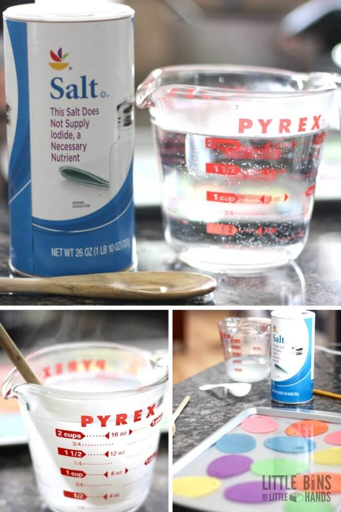 How to grow salt crystals with a saturated solution for kids chemistry
