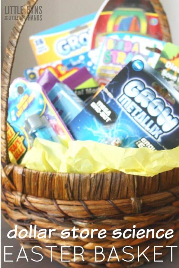 Dollar store science kits for Easter science basket ideas and fillers for kids. Fill an Easter basket with simple science experiments from the dollar store that kids will love!