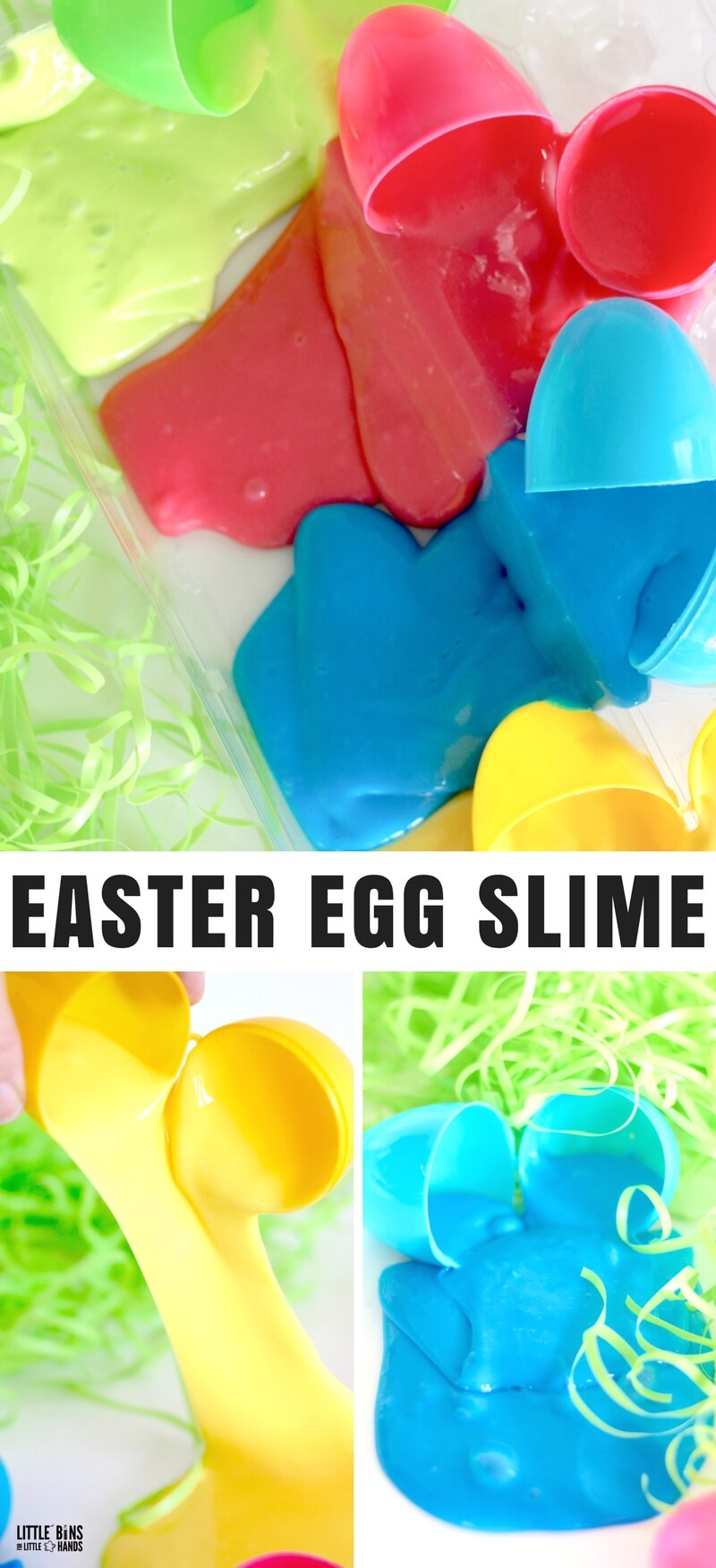 Have you just picked up a fresh bag of brightly colored plastic eggs? Now what,Make Easter egg slime of course! You know you have a hundred of these eggs in a bag somewhere in the house, but somehow the lure of the $1 package of plastic eggs hits you every year! It's totally ok with us! Why not fill them with our amazingly easy homemade slime recipes!