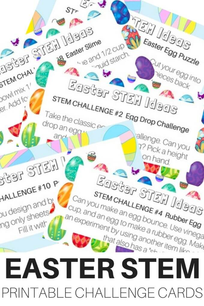 Free printable Easter STEM challenge cards for Kids Easter STEM and Easter science activities this spring