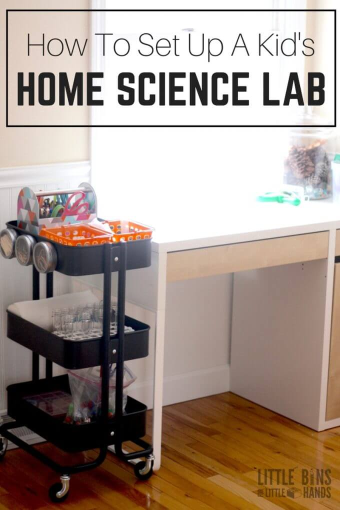 How to set up home science lab for kids including space, materials, projects, and tips for cheap STEM activities to try.