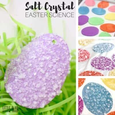 How to grow salt crystals Easter science activity for awesome and easy kitchen science with young kids.
