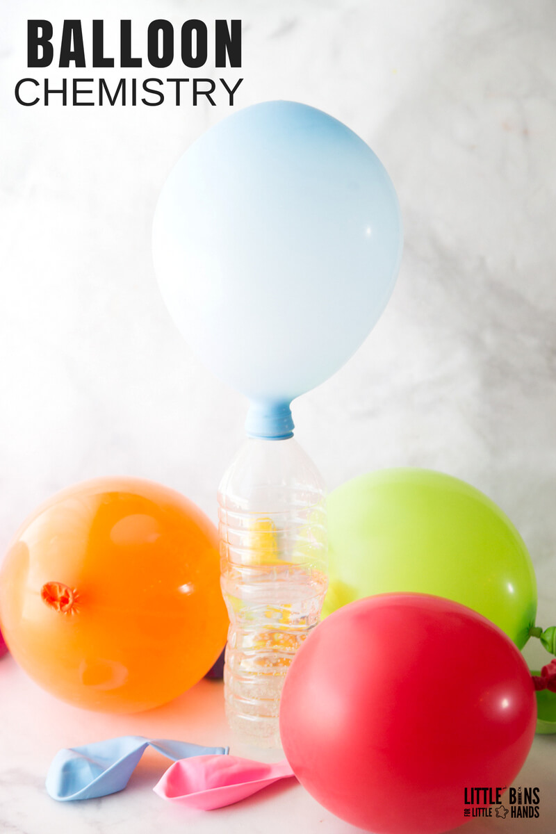 Combine quick science and balloon play with our easy to set up chemistry for kids! Test out this balloon baking soda science activity! It's a must save homemade science experiment for fizzing baking soda and vinegar science all year long! Just a few simple ingredients from the kitchen, and you have amazing chemistry for kids at your fingertips. Science you can actually play with too!
