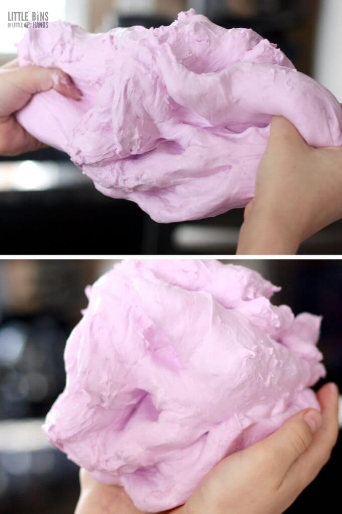 Fluffy slime recipe made with saline solution