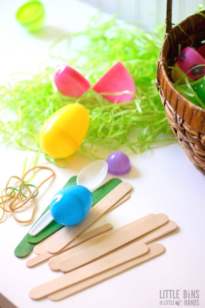 Easter Catapult Making Supplies for Easter STEM Activity
