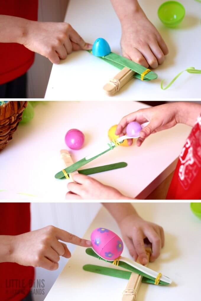 Play and Learn with an Easter Popsicle Stick Catapult Building Activity