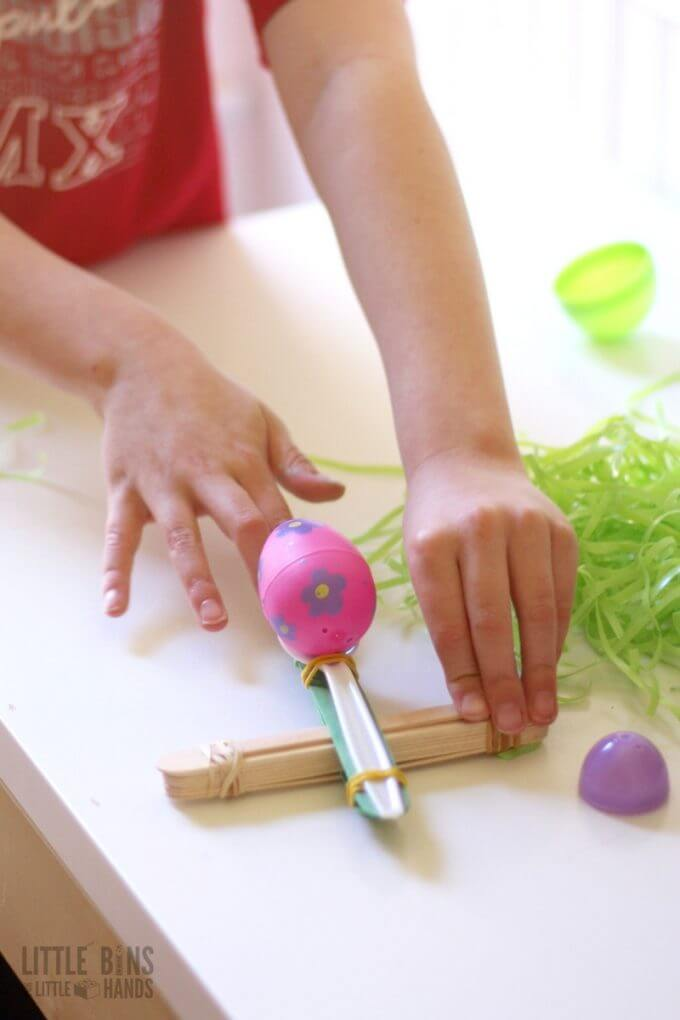 Testing Easter Catapult STEM Activity and Simple Lever Machine