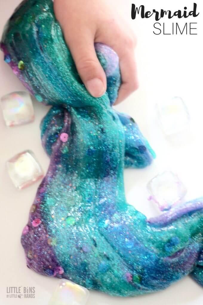 How to make mermaid slime with clear glue slime recipe and glitter!