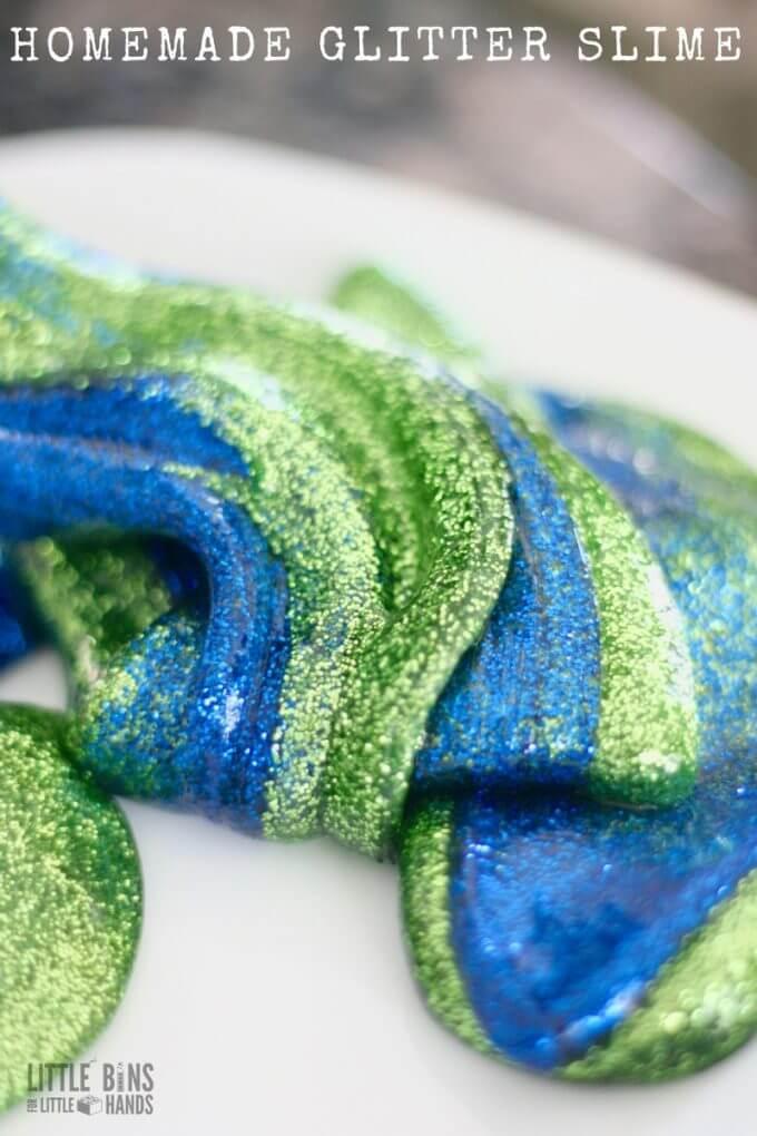 Learn how to make homemade glitter slime.