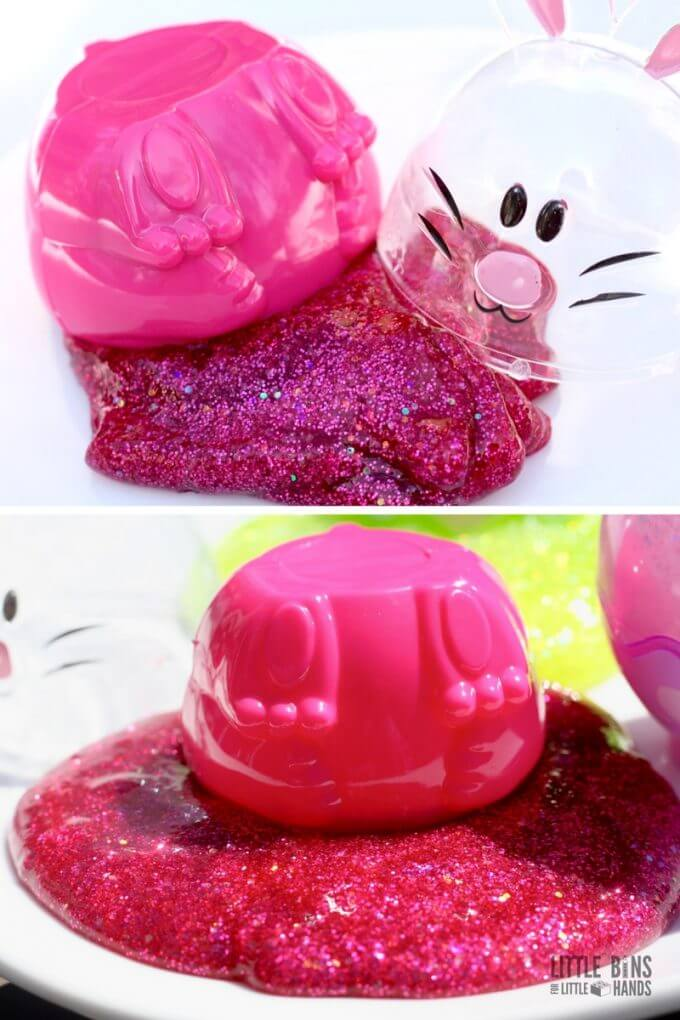 Bunny Butt slime as part of our Easter slime recipe named by my son.