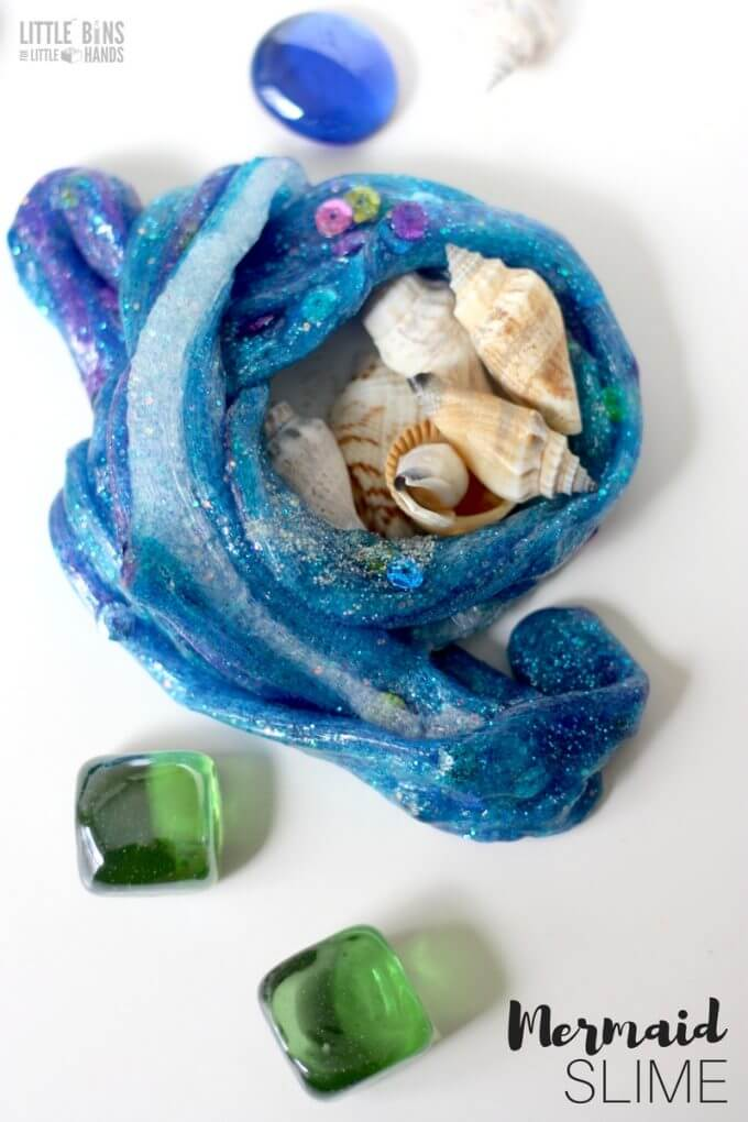 How to make mermaid slime for an under the sea theme!