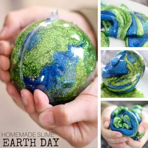 Make Earth Day Slime Recipes : Glitter Glue Earth Day Slime Recipe