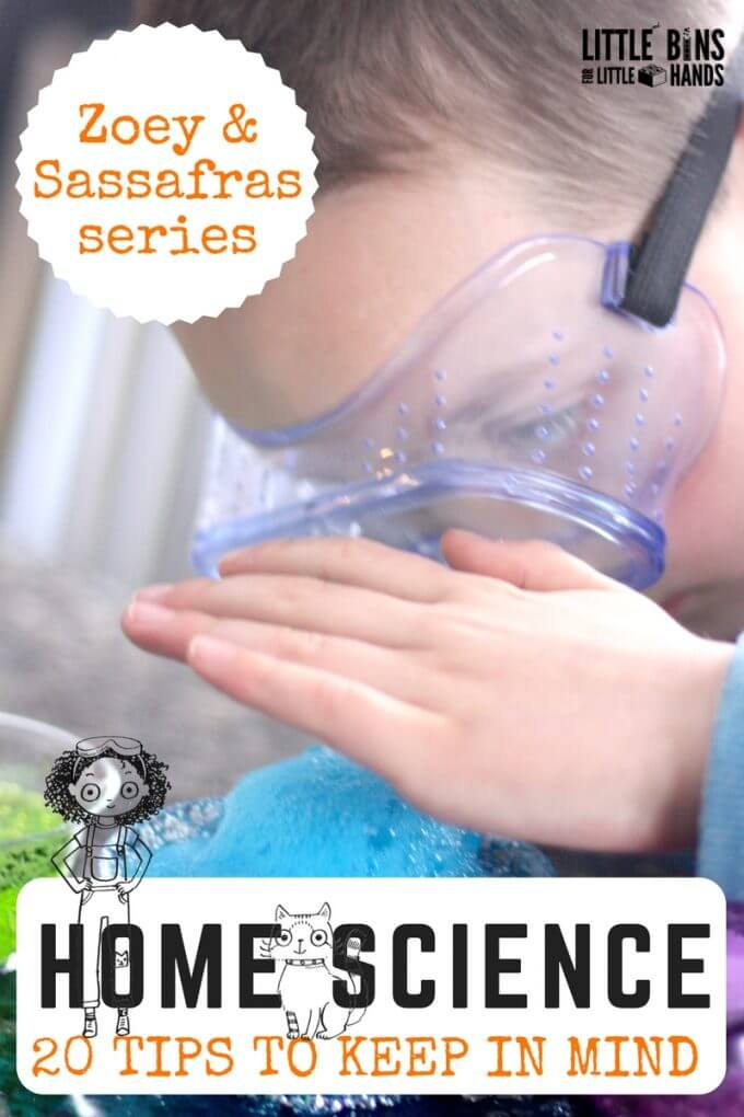 Learn how to enjoy home science activities and experiments with your kids! Set up simple home science experiments and inquiry based science activities easily with our 20 solid tips for making science fun! Use the books in the Zoey and Sassafras series as part of a home science  lesson plan.