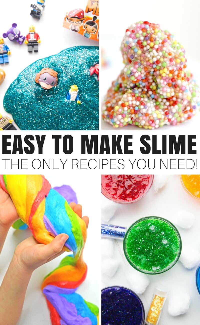 Learn how to make slime with glue for all the most popular homemade slime recipes including fluffy slime, saline slime, borax slime, liquid starch slime, crunchy slime, butter slime, floam slime and more. Elmers glue slime recipes that really work and kids love to make and play with too!